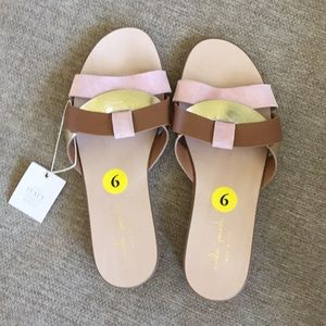 NWT Mila Paoli leather slides sandal size 9 blush